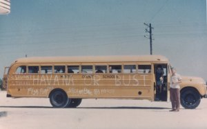 School bus from 1954 senior trip.