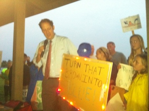 Joe Negron at River Kidz protests at St Lucie Locks and Dam because of Lake O releases in 2102.