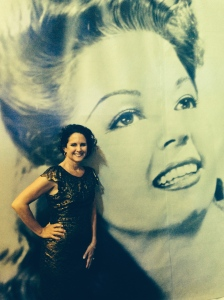 Standing before a giant photo of Frances Langford at Florida Oceanographic event 2013. (Photo Ed Lippisch)
