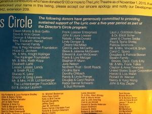 Lyric booklet of Director Circle Donars