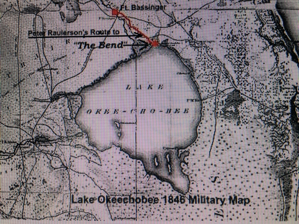 Portion of 1845 Florida Military map showing around south of Lake Okeechobee but no rivulets.