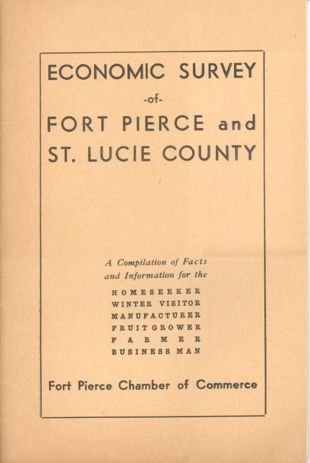 Economic Survey of Ft. Pierce and St Lucie County, 1936. Shared by historian Sandra Henderson Thurlow.