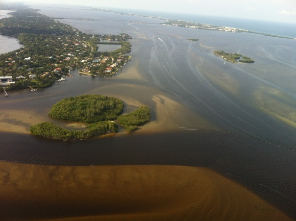 Waters off of Sewall's Point where the Port was to be located in August 2013 during high levels of discharges from Lake Okeechobee. (JTL)
